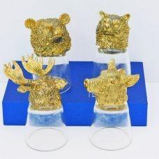 """Набор из 4-х стопок-перевертышей золото """"Звери лось, кабан, волк, медведь) (50мл/стопка). Упаковка 4шт"""
