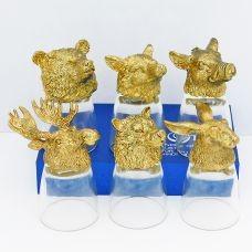 """Набор из 6-и стопок-перевертышей золото """"Звери лось, кабан, заяц, волк, лиса, медведь) (50мл/стопка). Упаковка 6шт"""