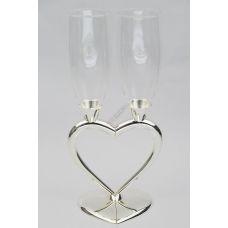 Бокалы свадебные тюльпаны сердце под серебро 250мл. Фужеры комплект 2шт