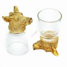 Набор из 2-х стопок-перевертышей с Кабаном золото (50мл/стопка). Упаковка 2шт