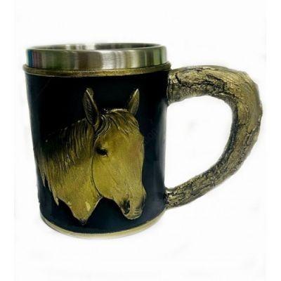 """Кружка """"Лошадь"""" нержавеющая сталь и искусственный камень 15*10*12см , 500мл"""