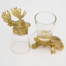 Набор из 2-х стопок-перевертышей золото Лось (50мл/стопка). Упаковка 2шт