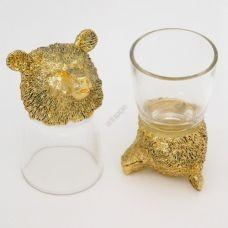 Набор из 2-х стопок-перевертышей золото Медведь (50мл/стопка). Упаковка 2шт