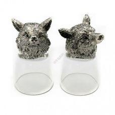 Набор из 2 стопок-перевертышей с Лисой серебро (50мл/стопка). Упаковка 2шт