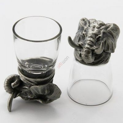 Набор из 2-х стопок-перевертышей со слоном (50мл/стопка). Упаковка 2шт