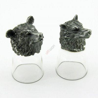 Набор из 2-х стопок-перевертышей Медведь+волк (50мл/стопка). Упаковка 2шт