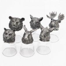 """Набор из 6-и стопок-перевертышей """"Звери лось, кабан, заяц, волк, лиса, медведь) (50мл/стопка). Упаковка 6шт"""