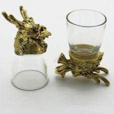 Набор из 2-х стопок-перевертышей Дракон золото (50мл/стопка). Упаковка 2шт