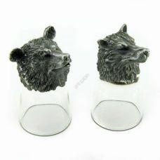 Набор из 2-х стопок-перевертышей Медведь и волк (50мл/стопка). Упаковка 2шт