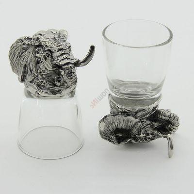Набор из 2-х стопок-перевертышей Слон серебро (50мл/стопка). Упаковка 2шт