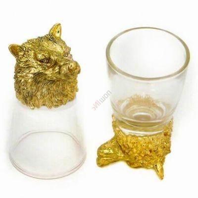 Набор из 2-х стопок-перевертышей золото с Волком (50мл/стопка). Упаковка 2шт
