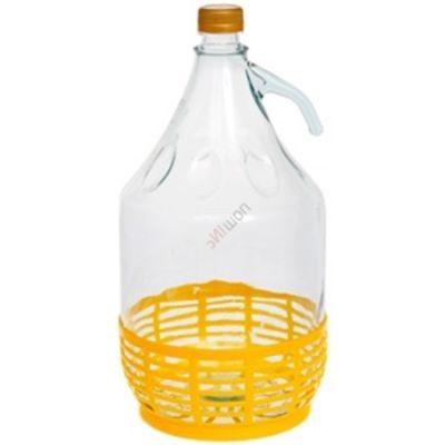 Бутыль Дама с завинчивающейся пробкой в корзине 5 литров. Стеклянная бутылка для вина с ручкой 5000 мл