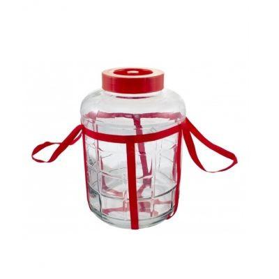Бутыль GL10 с гидрозатвором 9л. Стеклянная бутылка для вина 9000мл