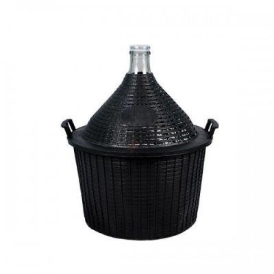 Бутыль для вина 10 литра в пластмассовой корзине