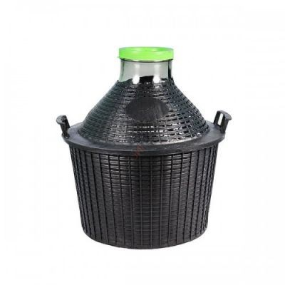 Бутыль для вина 20 литров в пластмассовой корзине ШИРОКОЕ ГОРЛО
