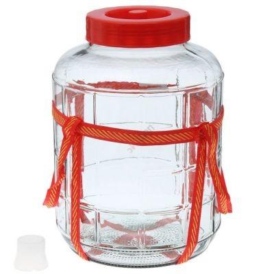 Банка с гидрозатвором GL15 15л. Стеклянная бутыль для вина 15000мл