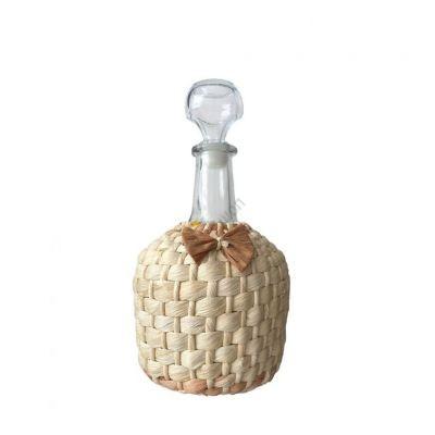 """Графин """"Фуфырек оплетенный листьями кукурузы"""" 1.5л бутыль. Стеклянная бутылка для вина 1500мл"""