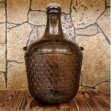 """Бутыль """"COLONIAL коньячный коричневый"""" с корковой пробкой 12л. Стеклянная бутылка для вина 12000мл"""
