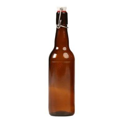 Бутылка пивная с бугельной пробкой коричневая 0.5л. Стеклянная бутыль для хранения крепких спиртных напитков 500мл