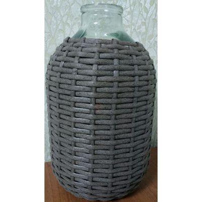 Бутыль СКО82 10л. в оплетке. Стеклянная бутылка для вина прозрачная 10000мл