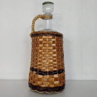 """Бутыль """"Ностальгия оплетенная прутьями лозы"""" 3л. Стеклянная бутылка для вина 3000мл"""