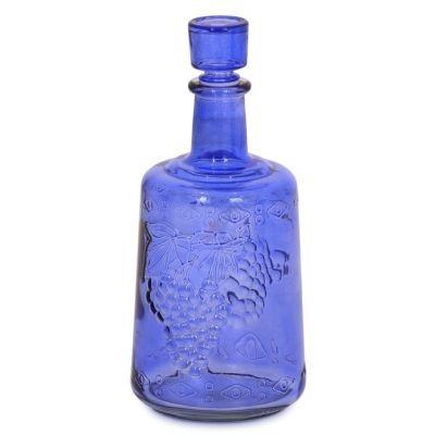 """Графин """"Традиция синяя"""" 1,5л бутыль. Стеклянная бутылка для вина 1500мл"""