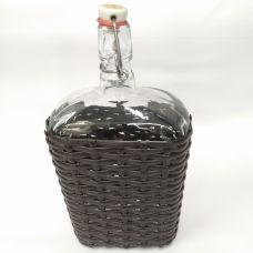 """Бутыль """"Викинг Люкс в оплетке искусственный ротанг"""" 1,75л. Стеклянная бутылка для вина с бугельным замком 1750мл"""