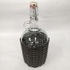 """Бутыль """"Венеция Люкс в оплетке искусственный ротанг"""" 2л. Стеклянная бутылка для вина с бугельным замком 2000мл"""