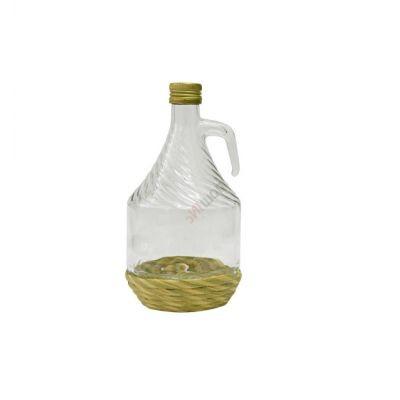 Бутыль Дама с завинчивающейся пробкой в оплетке  1 литр. Стеклянная бутылка для вина с ручкой 1000 мл