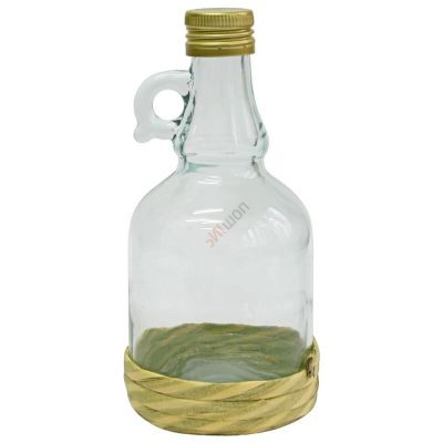 Бутылка Gallone в оплетке 1 литр, с пробкой. Стеклянная бутылка для вина с ручкой 1000 мл