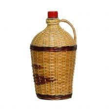 Бутылка Ровоам оплетенная прутьями лозы 4.5 литра. Стеклянная бутыль для вина с изображение лозы 4500мл