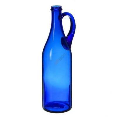 """Бутыль """"Литр с ручкой"""" синяя 1л. Стеклянная бутылка для вина 1000мл"""