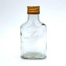 Бутылка винтовая 0.1 литра Бомба фляжка прозрачная с алюминиевыми крышками. Стеклянная бутылка для вина 100 мл
