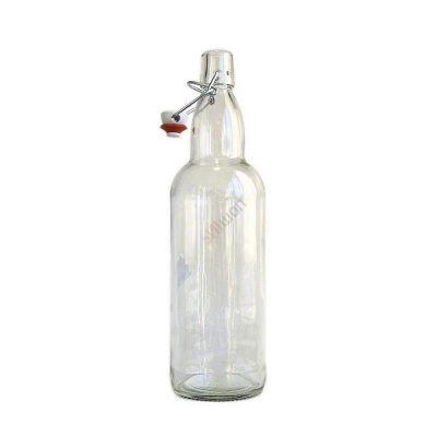 Бутылка пивная с бугельной пробкой бесцветная 0.5л. Стеклянная бутыль для хранения крепких спиртных напитков 500мл