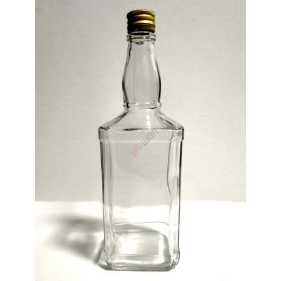 Бутылка ВИСКИ 1л с алюминиевыми крышками. Стеклянная бутыль с резьбой для хранения крепких спиртных напитков 1000мл