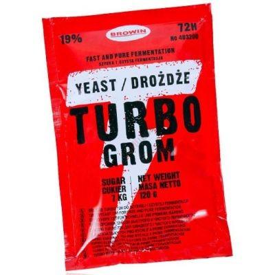 Лучшие спиртовые дрожжи Turbo Yeast Grom 72ч 120г на 25 литров браги. Турбо Гром Польша